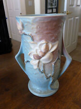 Roseville Magnolia Blue - Footed Two Handle Vase - 89 - 7 3/8""