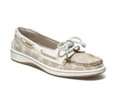 Coach Richelle Boat Shoes White & Cream Signature C Size 8