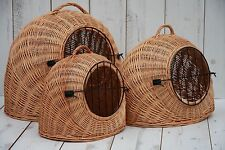 SMALL-MEDIUM-LARGE- Wicker Pet Carrier/BED Igloo /Dog Cat Rabbit, Natural Crate-