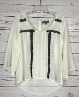 UMGEE USA Boutique Ivory Cream Black Sheer Lace Top Blouse Shirt Women's S Small