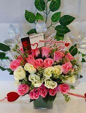 Artificial Pink White Rose Bouquet Silk Flowers 2 Dozen Flower Wedding Valentine