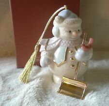 Lenox Ornament Snowman Shovel Snow New in Box