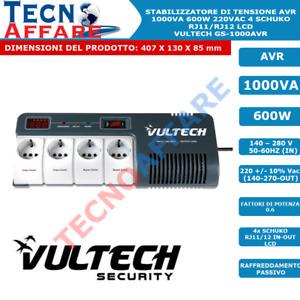 Stabilizzatore di Tensione 1000VA 600W Filtro AVR 4Schuko LCD Vultech GS-1000AVR