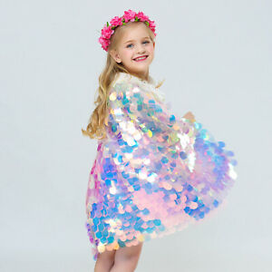 Lovely Colorful Mermaid Shiny Sequin Cape Kid Girls Shawl Party Princess CloakUK