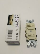 Leviton Ivory Double Wall Light Switch Duplex Toggle 15A Single Pole 5224-2I