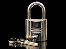 100% Authentic Hermes Set of Padlock & Key Silver-Tone M770