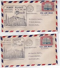 CAM32 W1 Pasco WASHINGTON 1929 First Flight 2 Covers (Portland, Tacoma) Air Mail