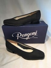 NIB Rangoni of Florence Black Leather Suede Shoes Pumps Low Heel $120 Size 7 NEW