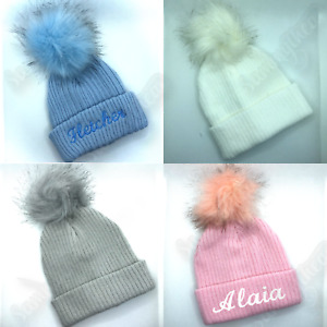 PERSONALISED BABY HAT POM POM  KNITTED WINTER HATS 0-18 MONTHS