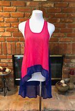 Blue & Pink S Sheer Hi Low HiLo Sleeveless Dressy Racer Back Layering Shirt Top