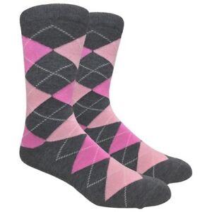 Men's FineFit Black Novelty Socks - Charcoal Argyle