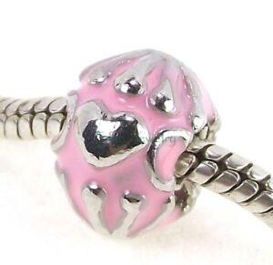 Pink Enamel Heart Screw Threaded Stopper Lock Bead for European Charm Bracelet