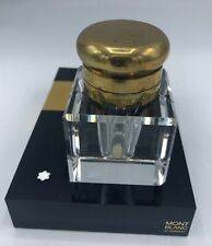 Mont Blanc Meisterstuck Hand Cut Lead Crystal Inkwell & Stand Made in Germany
