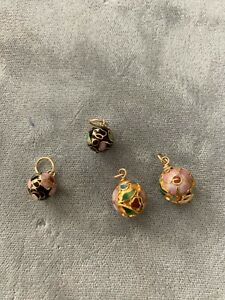 4 Gold Cloisonne Flower Beads 2 Different Designs
