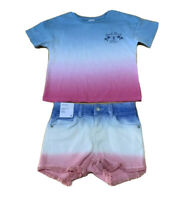 Girls size 6 BONDI BEACH Tee & Blue white pink dyed denim shorts Target NEW