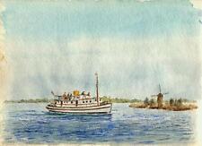 STEAM CRUISER ON RIVER Painting CHARLES VERNON METHLEY c1930 IMPRESSIONIST