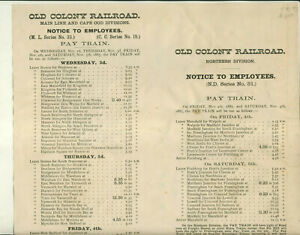 """1887 """"PAY TRAIN"""" OLD COLONY RAILROAD NORTHERN DIVISION EMPLOYEES TIME TABLE"""