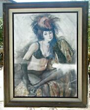 "Listed Artist Sheldon Schoneberg, Dance Hall Girl, Lg. 40 x 50"" Pastel Framed"