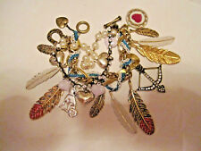 Betsey Johnson INDIAN SUMMER RARE CHARM BRACELET FEATHERS AND ARROW AND BLING