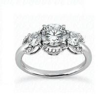 14k White Gold, Natural Excellent Cut Diamond Engagement Ring Setting, Jewelry