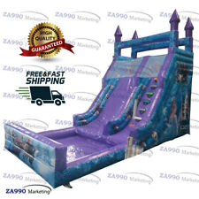 23x11.5ft Commercial Inflatable Frozen Bounce Slide & Pool With Air Blower