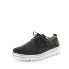 Just Bee Carnation Black Shimmer Leather Lace Up Sneaker Casual Shoes Womens