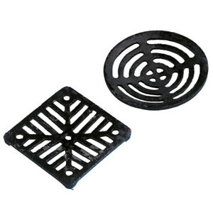 Drain Cover Cast Iron Square Dish Round Gully Grid Grate HeavyDuty Black Outside