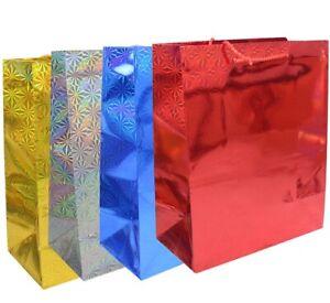 4x Geschenktaschen  je eine rot blau silber goldgelb ca. 32 x 26 cm glänzend