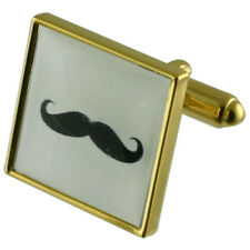 Moustache Gold Square Cufflinks With Engraved Personalised Case