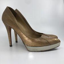 GUCCI $3000 Gold Platform Crocodile Pump Heel Shoes Sz 10/40
