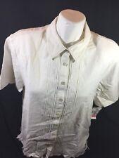 Napa Studio Women White Casual Blouse Size 14 Short Sleeve Button Up  Bin55#64