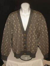 PAUL SMITH GRAY/BEIGE THICK/HEAVY WOOL/COTTON BLEND CARDIGAN SWEATER SZ. XL