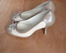 Next Perforated Taupe Cream Court Shoes Size 4.5 / 37.5