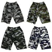 Boys Kids Shorts Army Camo Camouflage Combat Cargo Summer Fashion