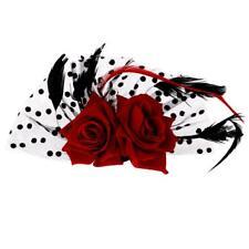 Clips de Mariage Décoration Cheveux de Mariée de Fleur Rose Rouge avec Plume