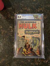 Incredible Hulk #2  | CGC 4.0 | New Label | 1st Green Hulk