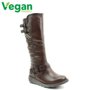Heavenly Feet Erica Womens Ladies Brown Tall Vegan Riding Style Boots Size 4-8