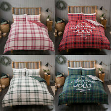 Christmas Duvet/Quilt Cover Set Single Double King Size New Check Xmas Bedding