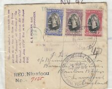 More details for tonga 1939 multi stamp registered tin can canoe mail to liverpool  jk32