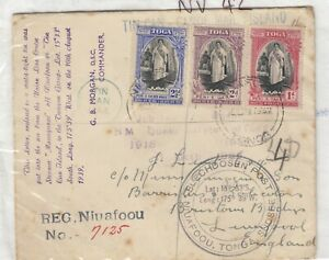Tonga 1939 Multi Stamp Registered Tin Can Canoe Mail To Liverpool  JK32