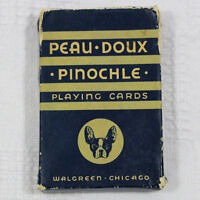 Vtg Peau Doux Pinochle Playing Cards Parisol Lady Walgreen Chicago Tax Stamp