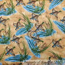 BonEful Fabric Cotton Quilt VTG Brown Blue Wood Duck Hunt Water Cabin Camp SCRAP