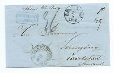 DENMARK: Cover Elsinore(Helsigör) to Finland 1864, postage due notations.