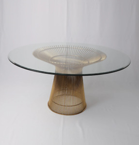 Lovise Round Dining Table, Glass Top, Modern Mid-Century Classic Design