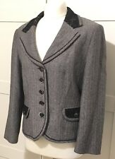 Gerry Weber Black Herringbone Jacket Lace Detail Collar & Pockets Size 12