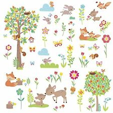 WOODLAND CREATURES Wall Decals Animals trees Room Decor Stickers Deer Forest NEW