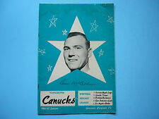 1964/65 VANCOUVER CANUCKS VS SEATTLE TOTEMS WHL HOCKEY PROGRAM DUNC MCCALLUM