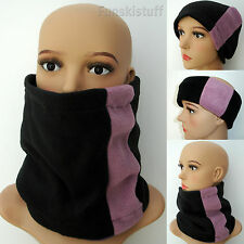 ladies girls womens BLACK / DUSKY PINK LILAC NECKWARMER scarf snood neck ski