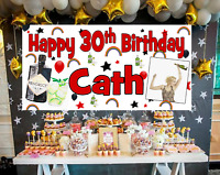 Large Personalised Birthday Poster Banner Photo Gin Rainbow 18 21 30 40 50 60 70