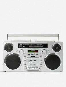 GPO Brooklyn Bluetooth Boombox 80W CD Cassette FM USB Recording (Silve